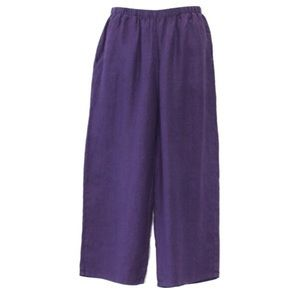 FLAX Linen Pants Purple Wide Leg Crop Pants MED